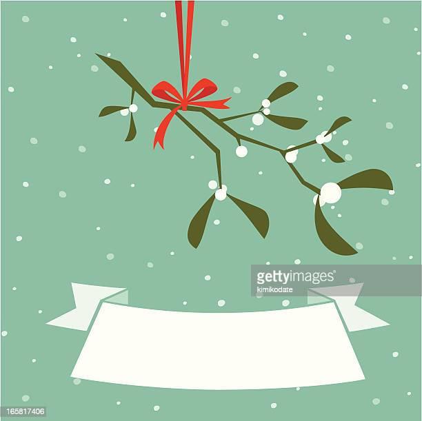 christmas mistletoe banner - mistletoe stock illustrations, clip art, cartoons, & icons