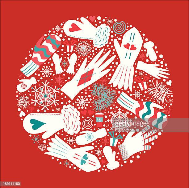 christmas mittens and gloves - season stock illustrations