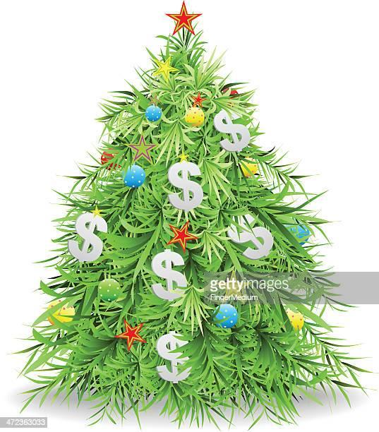 christmas money tree - christmas cash stock illustrations