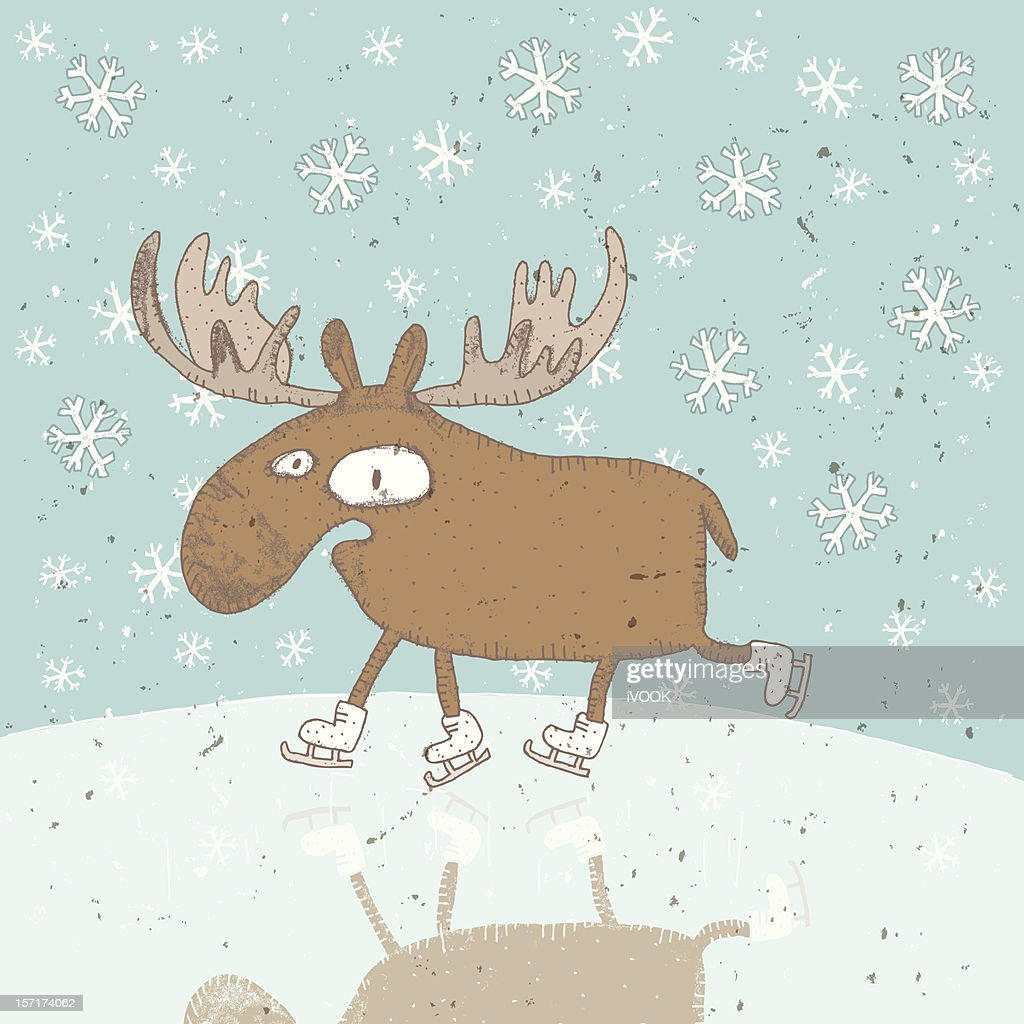 Christmas Moose Ice-Skating