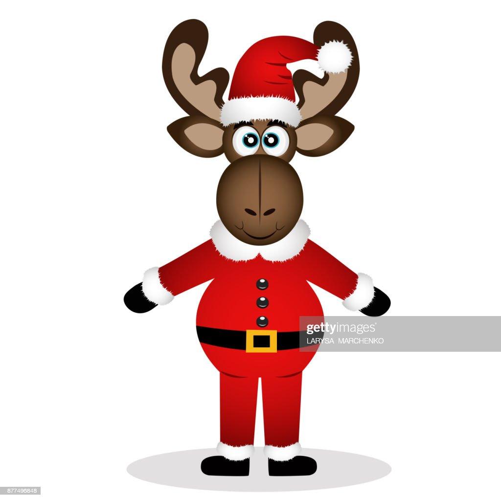 Christmas moose isolated on white background.