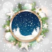 christmas motive, abstract winter landscape in rounded decorative frame, illustration