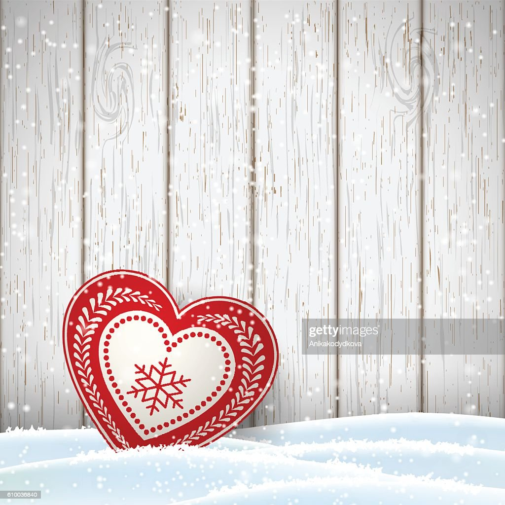 Christmas motive in scandinavian style, red and white decorated hearts