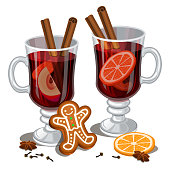 Christmas mulled wine with spices, gingerbread man, orange slice, anise and cinnamon sticks, traditional christmas drink. Vector illustration, eps 10.