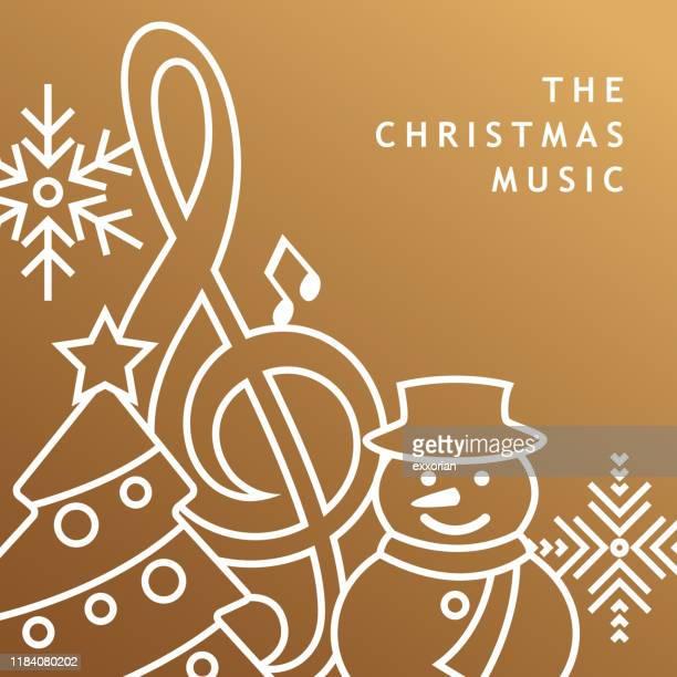 christmas music golden background - christmas music stock illustrations