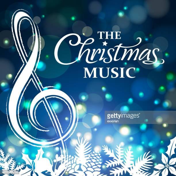 christmas music night - treble clef stock illustrations, clip art, cartoons, & icons