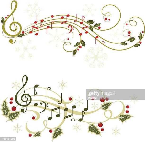 christmas music - sheet music stock illustrations, clip art, cartoons, & icons