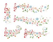 Christmas musical decoration elements. Winter holiday dividers.
