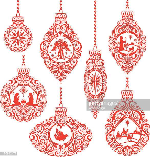 ilustraciones, imágenes clip art, dibujos animados e iconos de stock de christmas nativity ornamentos - nacimiento de navidad