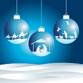 Christmas nativity scene. Christmas balls.