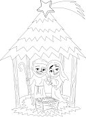 Christmas nativity scene isolated coloring page