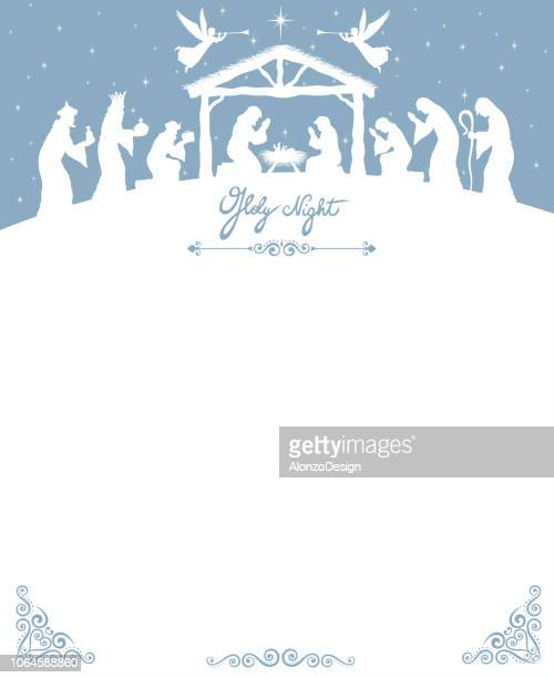 christmas nativity scene - nativity scene stock illustrations