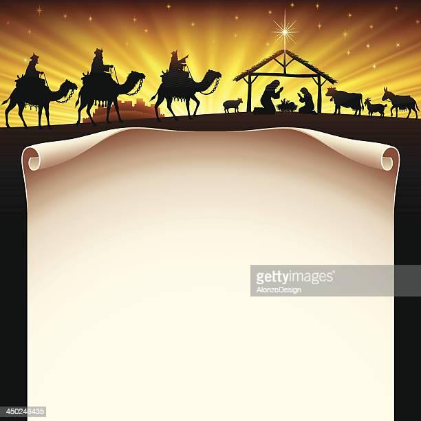 ilustraciones, imágenes clip art, dibujos animados e iconos de stock de pesebre de navidad - los tres reyes magos
