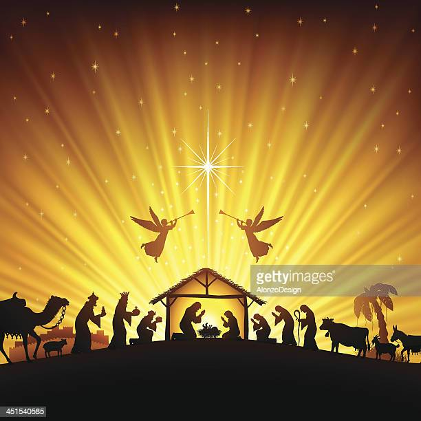 christmas nativity scene - jesus stock illustrations, clip art, cartoons, & icons