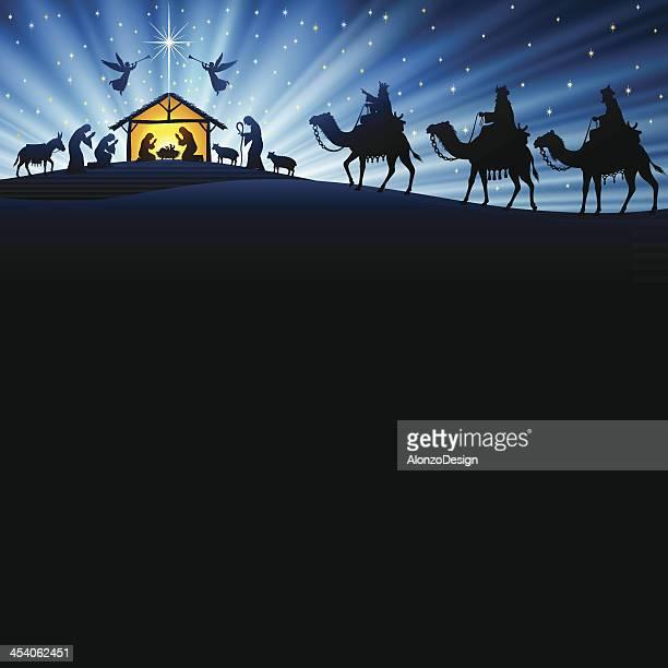 ilustraciones, imágenes clip art, dibujos animados e iconos de stock de pesebre de navidad - nacimiento de navidad