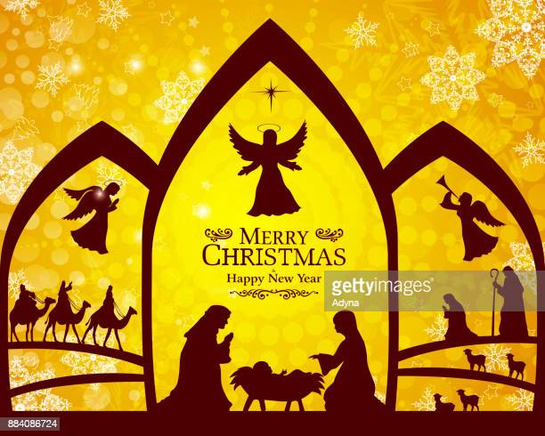 christmas nativity scene - annunciation stock illustrations