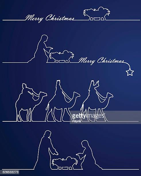 christmas nativity - nativity scene stock illustrations