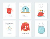 Christmas, New Year and Winter Holidays Cards with Vintage Sentimental Objects. Tea Mug, Snow Globe, Kettle, Sweater, Mason Jar Illustrations.