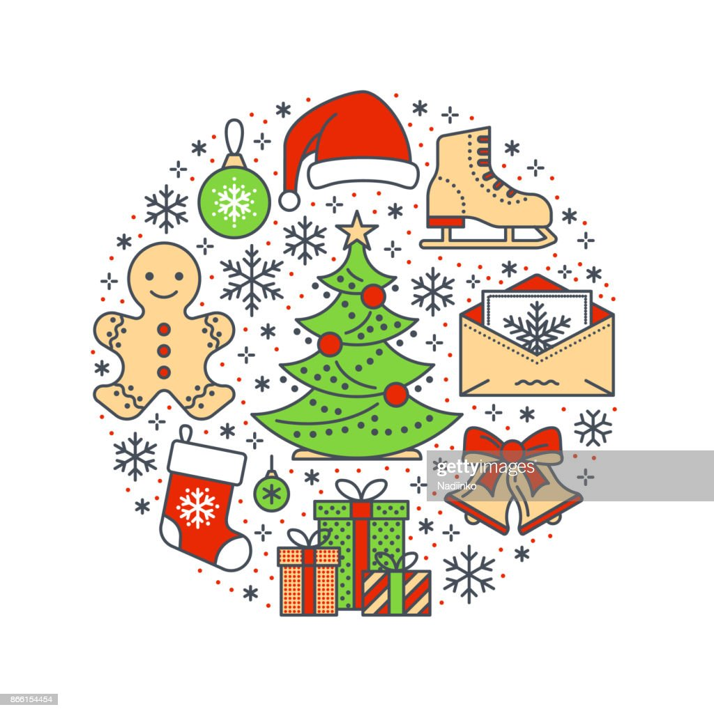 christmas new year banner illustration vector line icon of winter holidays christmas tree