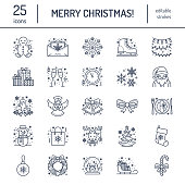 Christmas, new year flat line icons. Winter holidays - christmas tree gift, snowman, santa claus, fireworks, angel. Vector illustration, signs for celebration xmas party