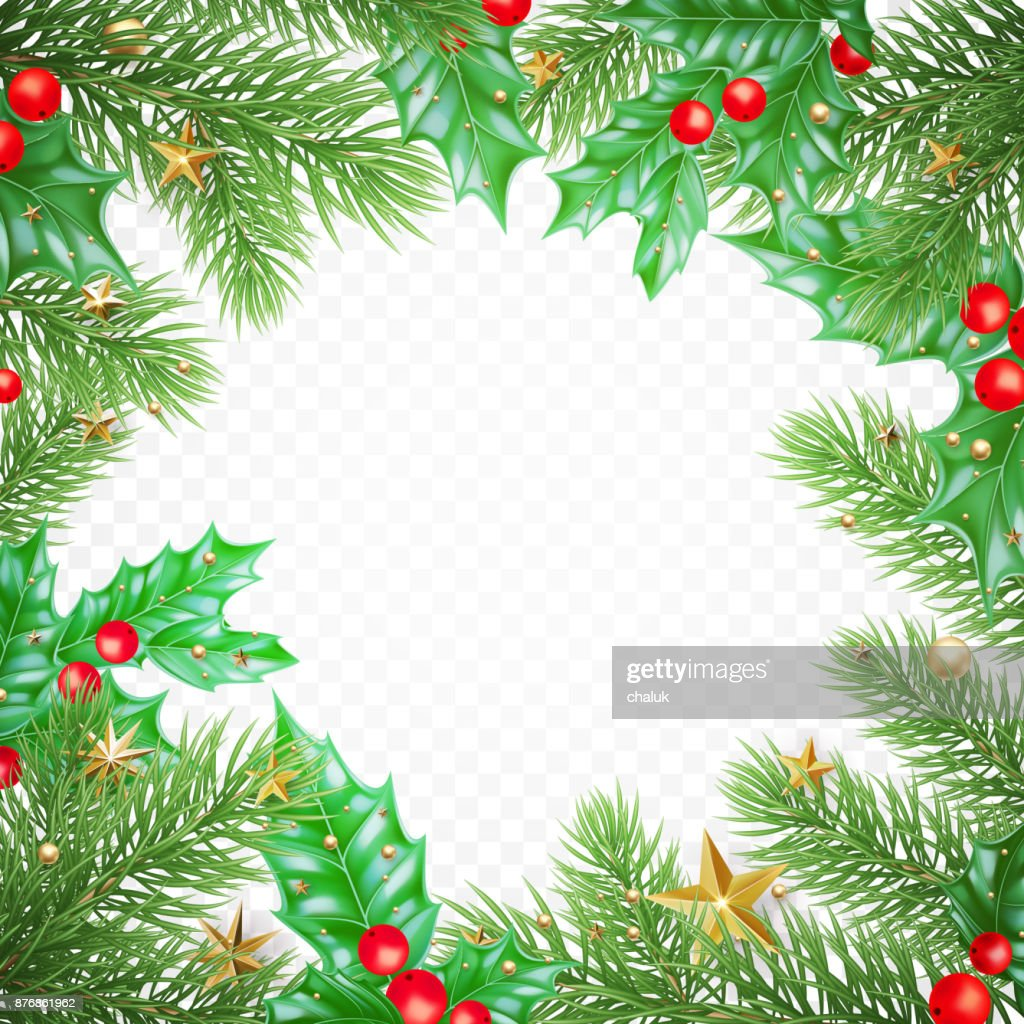Christmas New Year Greeting Card Background Template Tree Branch ...
