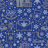 Christmas, new year seamless pattern, line illustration. Vector icons of winter holidays christmas tree, gifts, letter to santa, presents, jingle bells. Celebration party blue repeated background