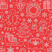 Christmas, new year seamless pattern, line illustration. Vector icons of winter holidays christmas tree, gifts, letter to santa, presents, snowman. Celebration party red white repeated background