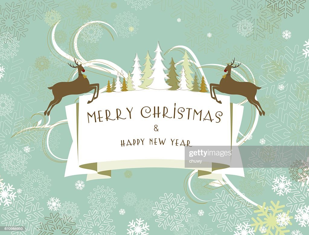 Christmas New Years Eve Banner Greeting Card Reindeer Text Vector ...