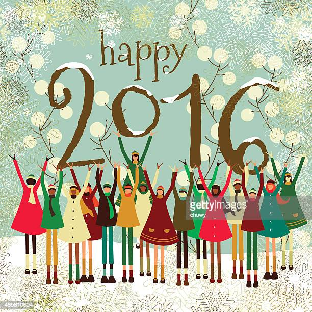 Christmas, new year's greeting card, children, 2016, kids, winter, multiethnic