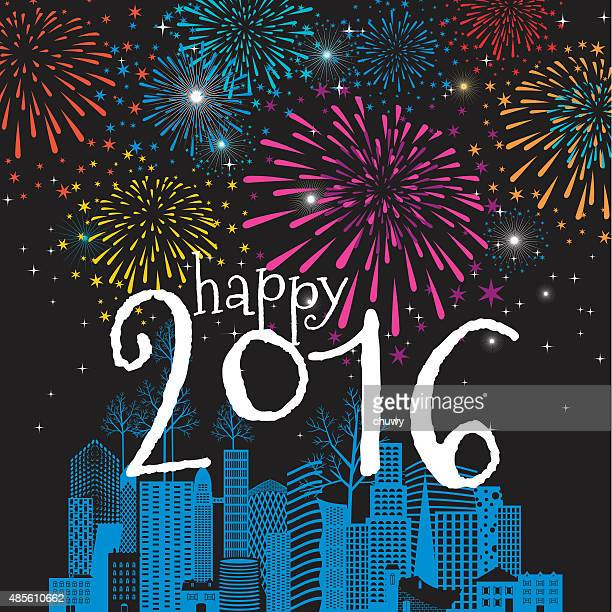 christmas, new year's greeting card, fireworks, cityscape, 2016, celebration, winter
