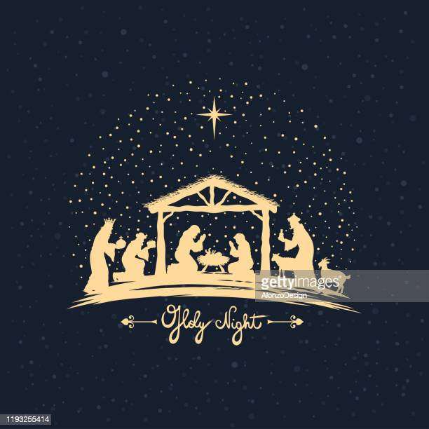 christmas night. birth of jesus - christianity stock illustrations