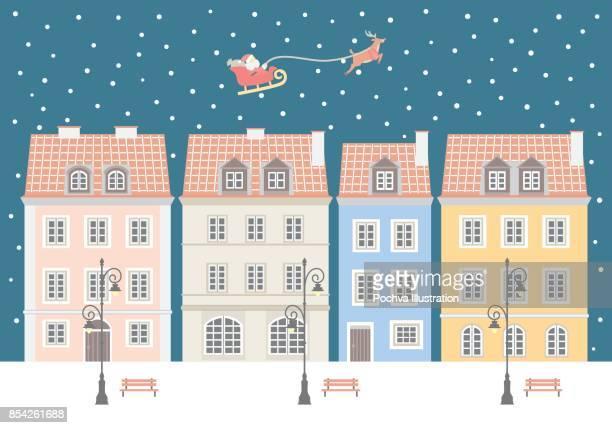 Christmas night in european town vector illustration