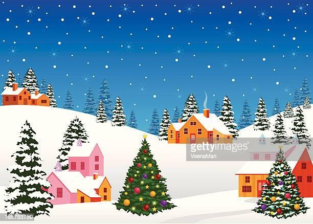 stockillustraties, clipart, cartoons en iconen met christmas night landscape - dorp