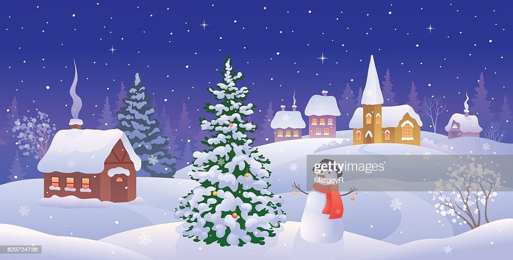 Christmas night panorama