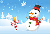 Christmas North pole snowman snowy landscape