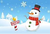 Christmas North pole snowman snowy landscape