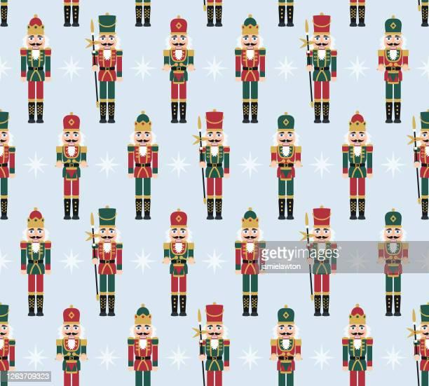 クリスマスくるみ割り人形フィギュア - おもちゃの兵士の人形の装飾とシームレスなパターン - クリスマスマーケット点のイラスト素材/クリップアート素材/マンガ素材/アイコン素材