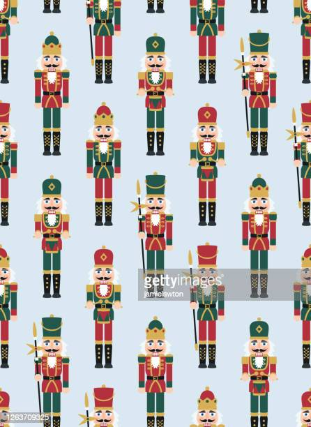 ilustrações de stock, clip art, desenhos animados e ícones de christmas nutcracker figures - seamless pattern with toy soldier doll decorations - bigode