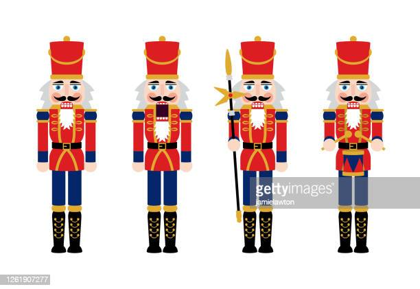christmas nutcracker figures - toy soldier doll decorations - vector stock illustrations