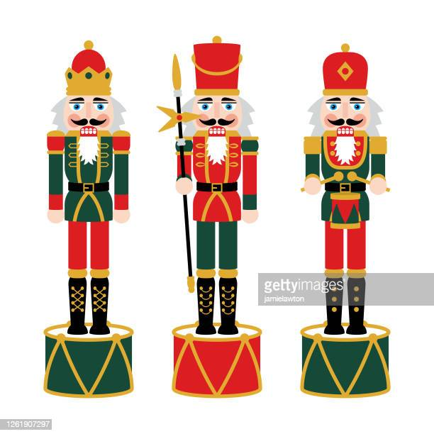 christmas nutcracker figures - toy soldier doll decorations - army soldier toy stock illustrations
