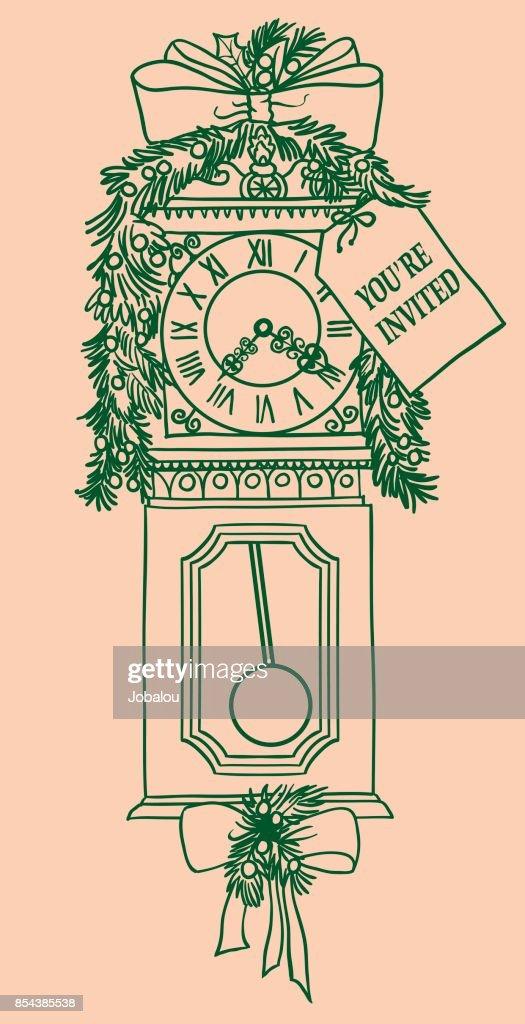 Christmas old clock invitation vector art getty images christmas old clock invitation vector art stopboris Choice Image
