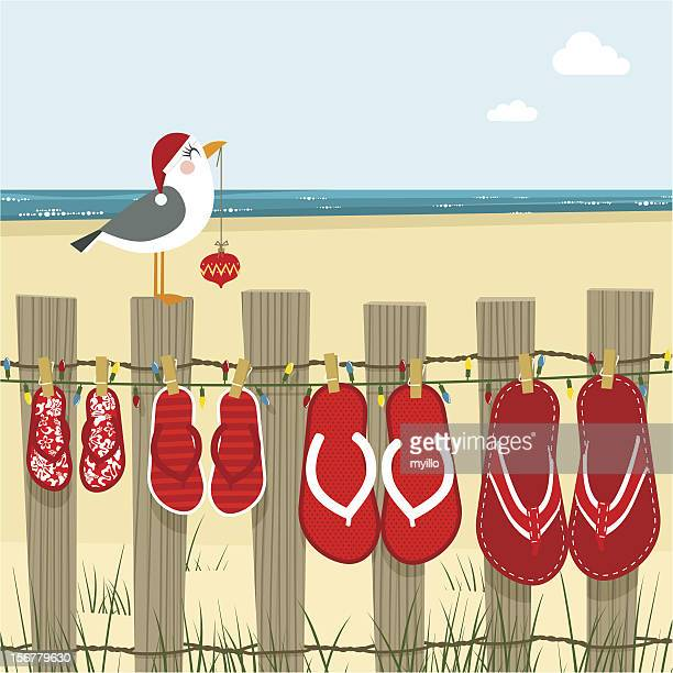 christmas on the beach sea illustration vector