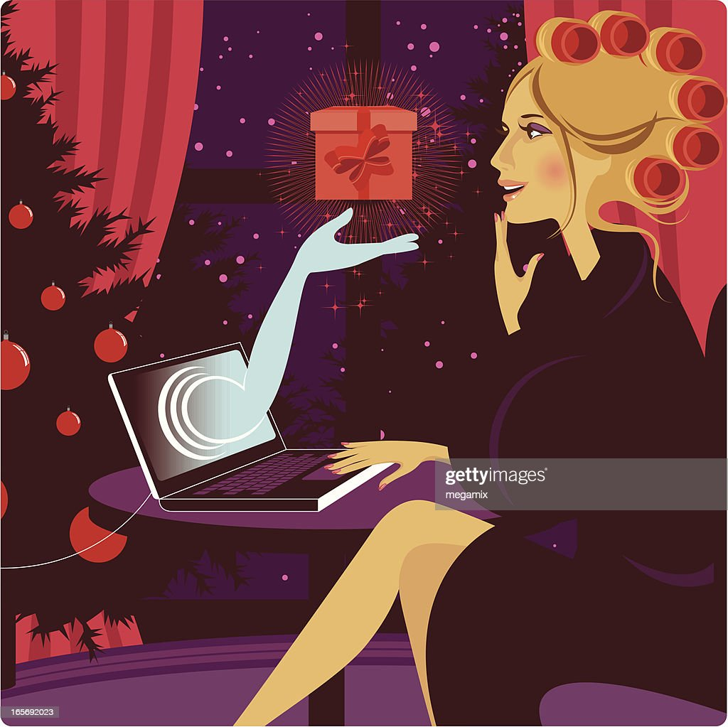 Weihnachten Onlineshopping Vektorgrafik | Getty Images