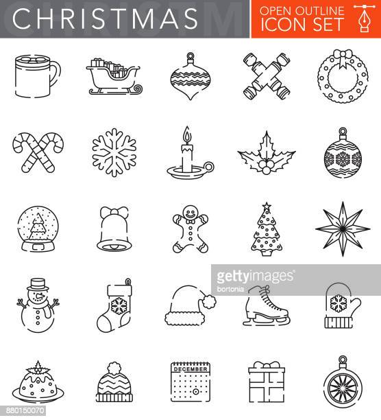 Christmas Open Outline Icon Set in Flat Design Style