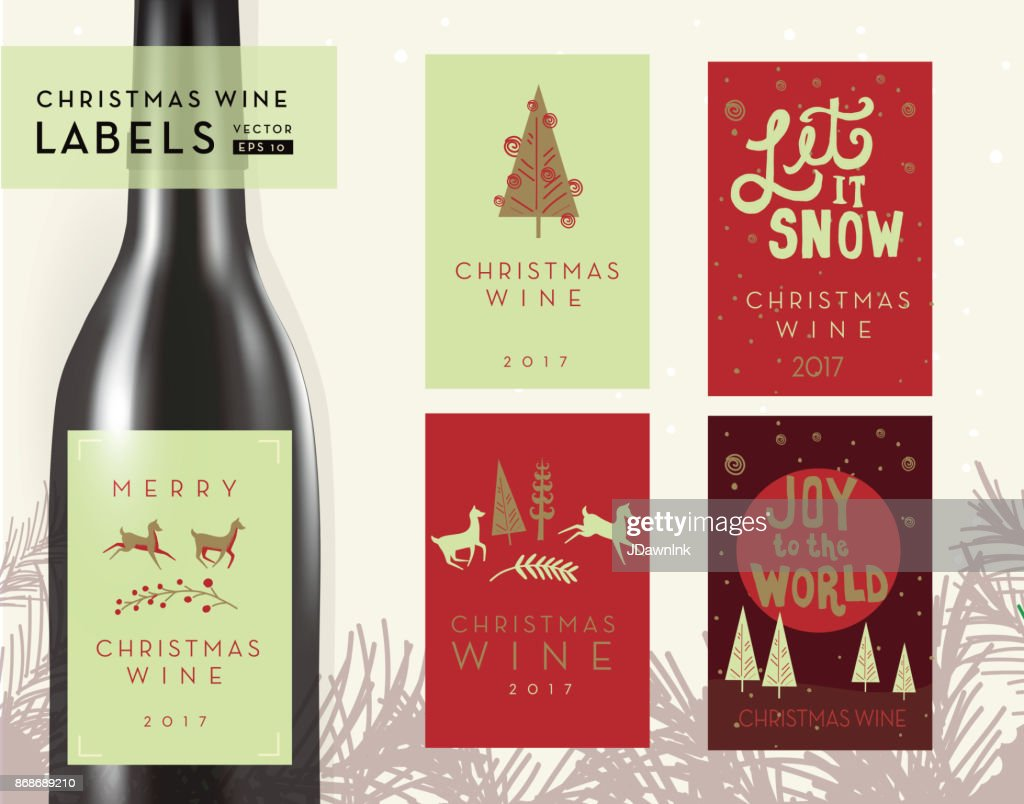 Christmas Or Holiday Wine Bottle Label Design Templates Vector Art ...