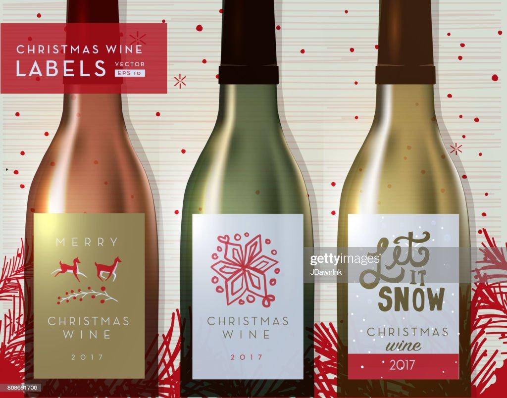 クリスマスや休日のワインのボトルのラベル デザイン テンプレート