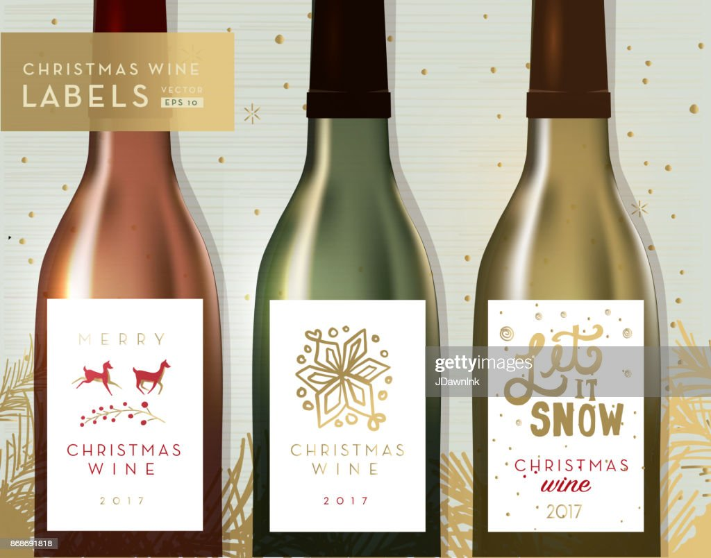 christmas or holiday wine bottle label design templates vector art