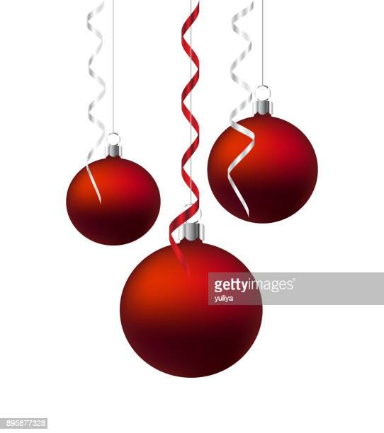 Christmas Ornament Balls Hanging Ribbon Silver And Red