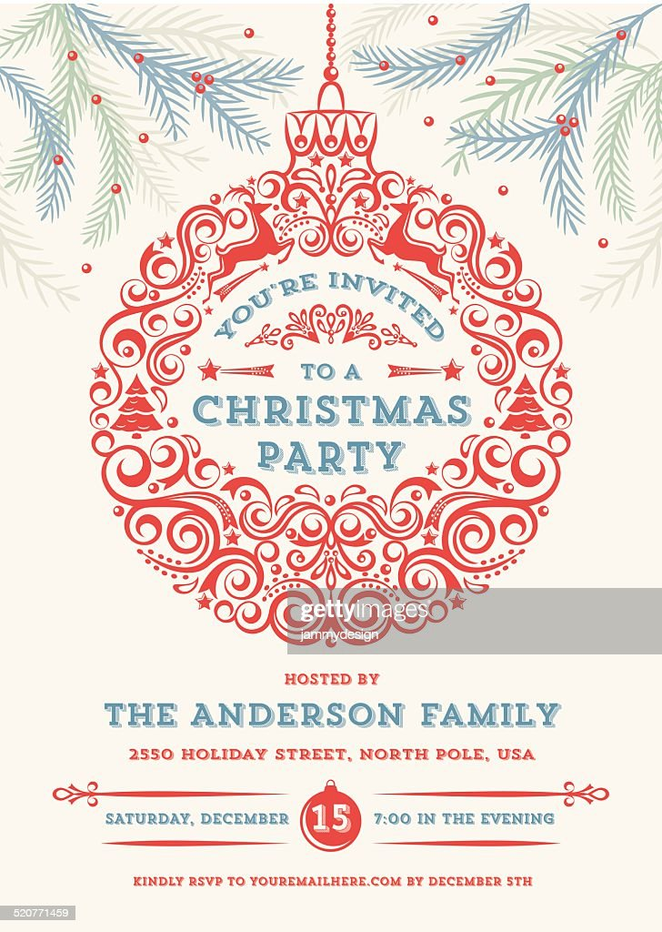 Christmas Ornament Party Invitation : Vector Art
