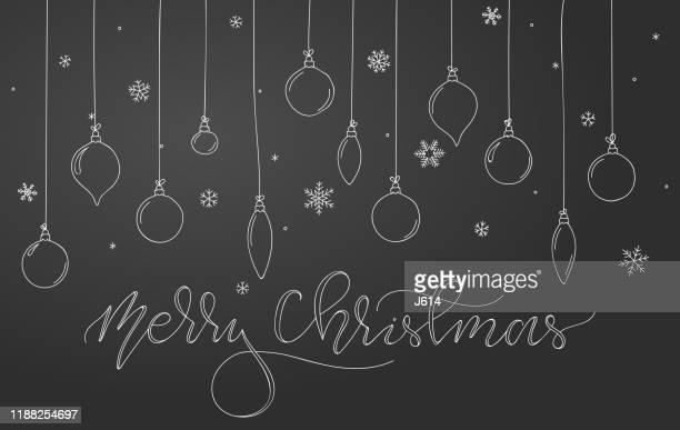 christmas ornaments background - blackboard visual aid stock illustrations